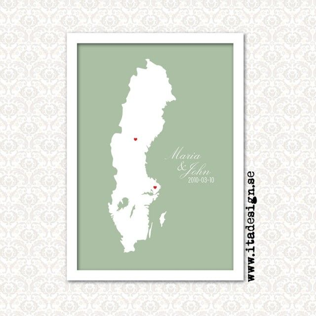 The love map! A personalized poster from Ita Design. For a date to remember... #nordicdesigncollective #wedding #gift #wed #newlywed #love #celebrate #celebration #party #present #lovers #couple #husband #wife #husbandandwife #iheartyou #hearts #itadesign #remember #poster #print #lovemap #map #sweden #name #names #date #town #city #personalize #personalized #mapofsweden #sverige