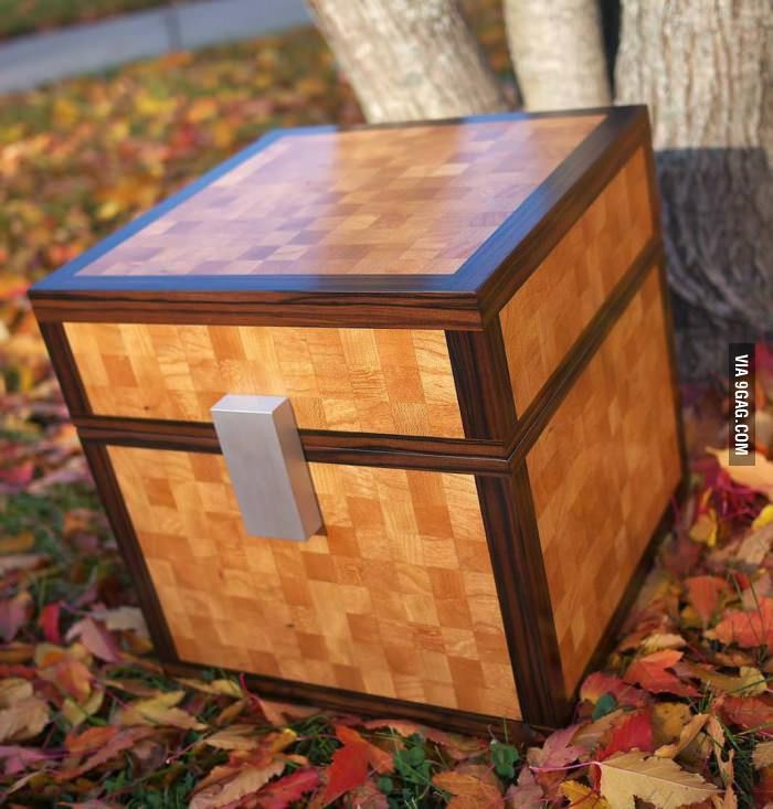Real life Minecraft chest, would have to have this for the boys' rooms!