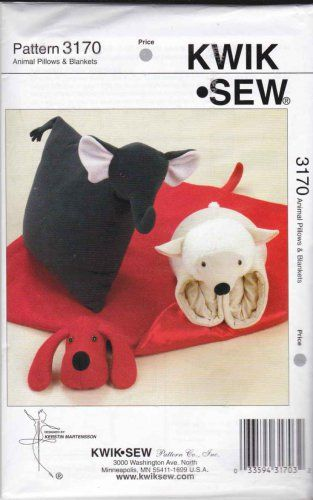 Kwik Sew Sewing Pattern Children Animal Pillows