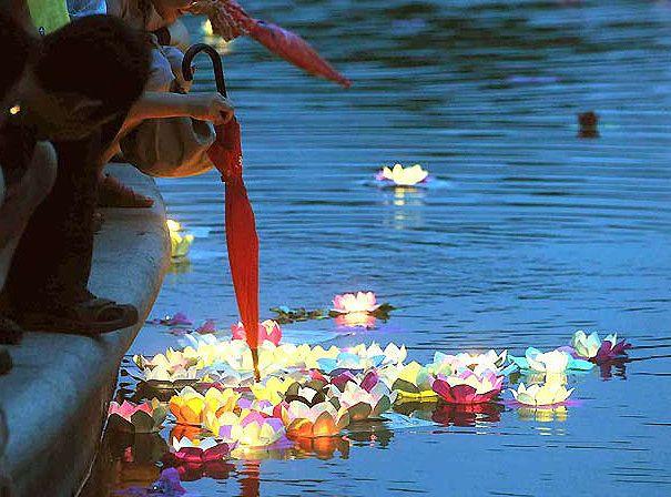 Magiques, ces fleurs lampions en papier qui flottent sur l'eau ou se posent sur vos tables ou buffets. En Asie, les invités sont conviés à déposer ces lanternes sur l'eau et formulent en même temps un voeu de bonheur. On les appelle ainsi les Lanternes du Bonheur !