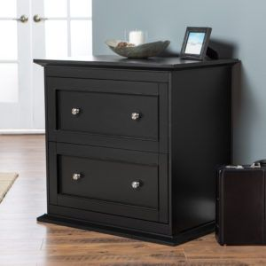Black Wooden File Cabinet 2 Drawer