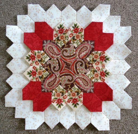"""Lucy Boston block 9 by Muriel for the POTC Blog Along at Little Quilts. Fabric for this block is from """"Pheasant Run"""" collection designed by Little Quilts for Henry Glass Fabrics."""