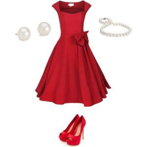 pinup red dress with pearls