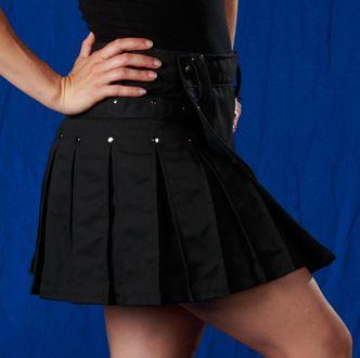 Women's Black Kilt w/Gun Metal Rivets: StumpTown Kilts Men's & Women's Modern Utility Kilts Made in USA