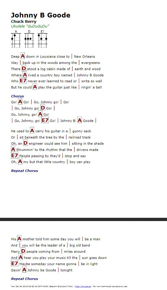 Johnny B Goode Chords Pdf