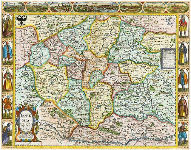 Kolorovaná mědirytina Aretinovy mapy Čech z roku 1619
