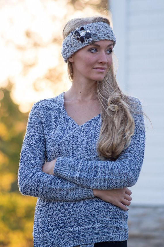Button Jungle Band  Knitted Headband in Grey Marble by JackiBean