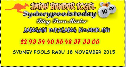 jatah bandar sydney pools Rabu 18 November 2015