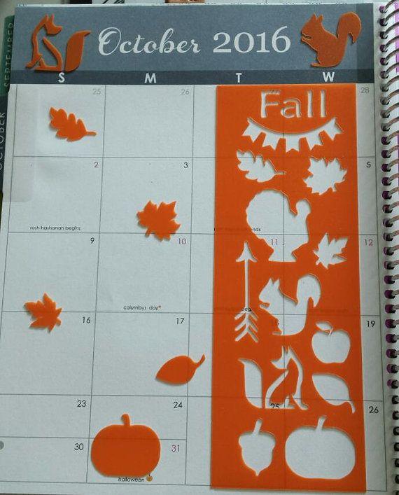 Fall Bookmark Planner/Journal Stencil by PecanPieCrafts on Etsy