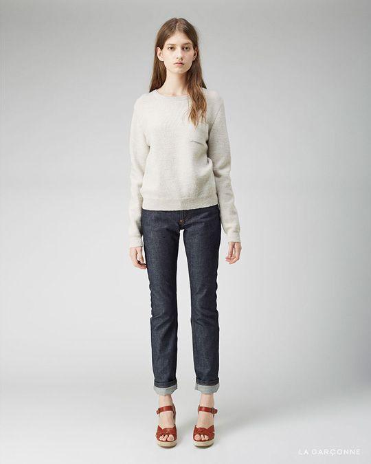 A.P.C. / Hippie Sweater  A.P.C. / New Cure Raw Jean  A.P.C. / Braided Platform Sandal