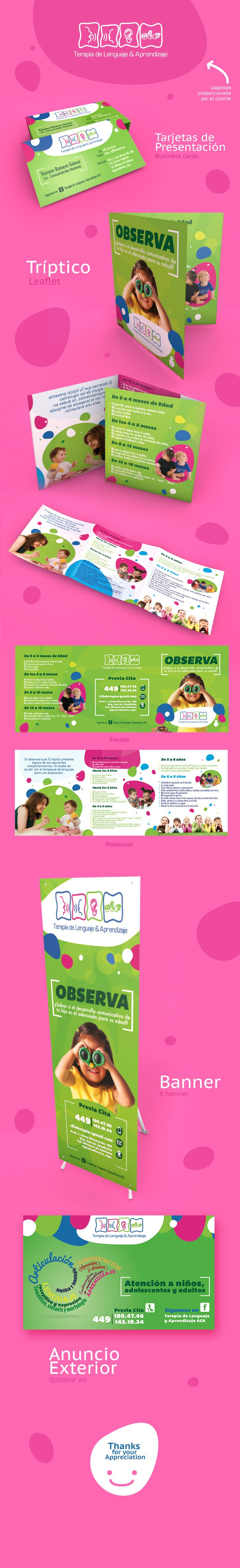 Diseño de Folleto y Display by EÑE Diseño  #folleto #pendon #rollup #display #bussines card #leaflet #kids #languaje #therapy #eñe #card #Ad