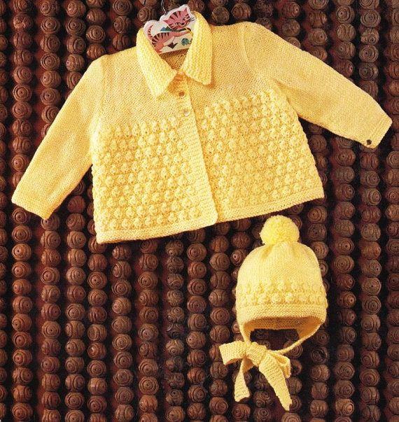 Knitting Patterns And Wool Sets : baby matinee coat and hat set vintage knitting pattern PDF Vintage knitting...