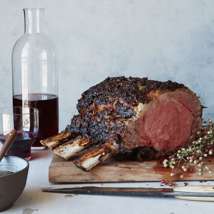 This glorious rib roast of beef gets slathered with a peppercorn-and-chile paste, so it comes out of the oven with a super-flavorful crust.