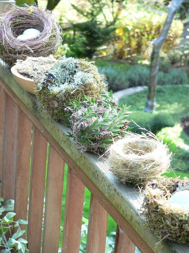 Make birds nests. Shape tin foil round a ball and hot glue layers of grass. Remove ball and glue mosses and twigs inside to cover foil. Genius!