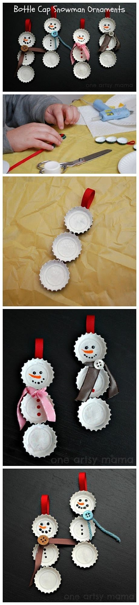 DIY – Bottle cap snowmen.  Cute gift!