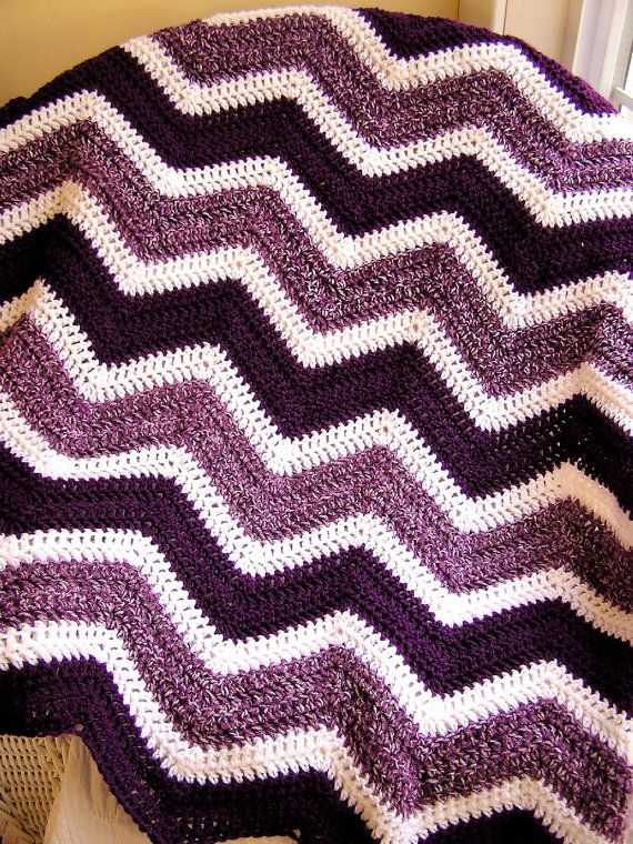 chevron zig zag baby blanket crochet knit afghan wrap lap wheelchair ripple stripes lion brand VANNA WHITE yarn purple white made in the USA