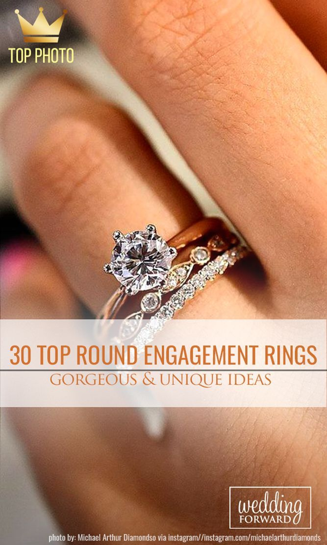 30 Top Round Engagement Rings❤️If you search stunning alternatives to traditional engagement ring you must pay attention to floral engagement rings. See more: http://www.weddingforward.com/round-engagement-rings/