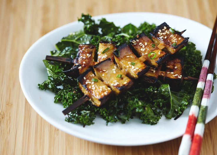 Miso Glazed Eggplant Kebabs with Kale Seaweed Salad // Natural Girl ...