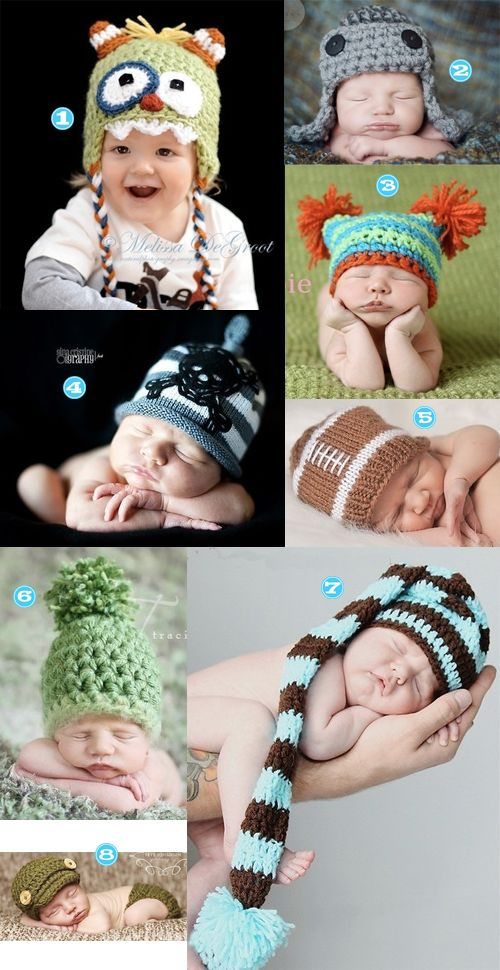 Adorable treasury of knit and crochet baby hats