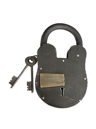 45% OFF Locks of Love Vintage Inspired Oversized Cast Iron Padlock with Brass Accent, c1950s
