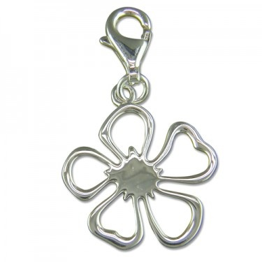 Clip-on Flat Cut-out Flower Silver Charm