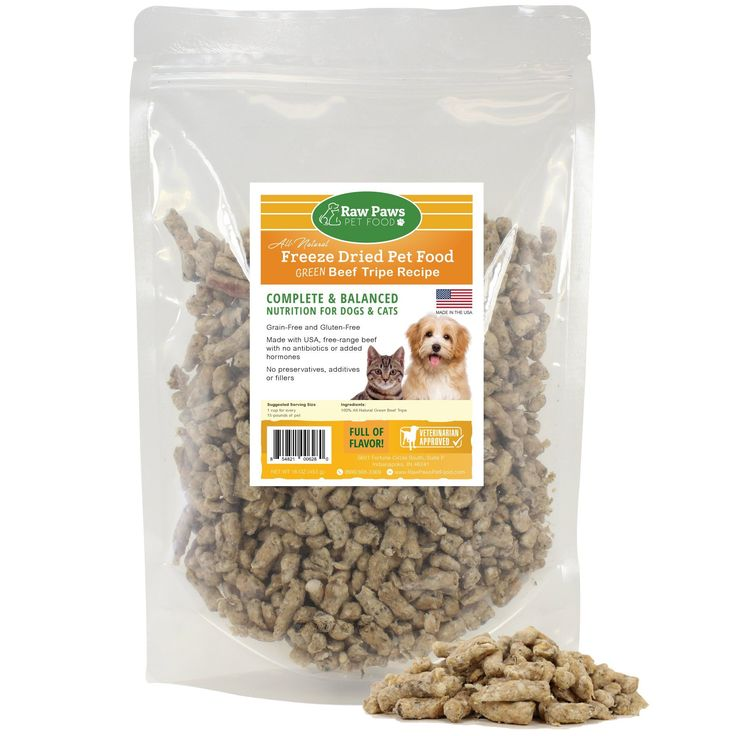 Raw Paws Pet Premium Raw Freeze Dried Green Beef Tripe for Dogs & Cats - 100% Grass Fed - Made in the USA - Grain Free - All Natural Freeze Dried - 16 oz