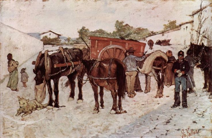 Highway with Farmers and Soldiers by Giovanni Fattori 1890