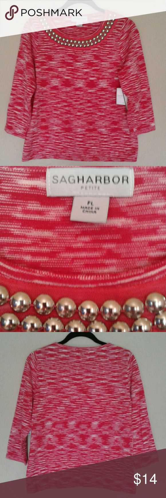 "NWT SAG HARBOR PETITE SWEATER NWT SAG HARBOR PETITE SWEATER with Decorative Neckline.  18"" from under arm to under arm. 23 1/2"" from shoulder to bottom hem. 19 1/2"" across hem. 100% Cotton SAG HARBOR PETITE  Sweaters"