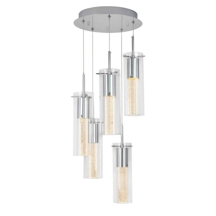 Essence Spiral 5-Pendants Indoor Light Fixture with Integrated Led, Chrome Finish, Grey
