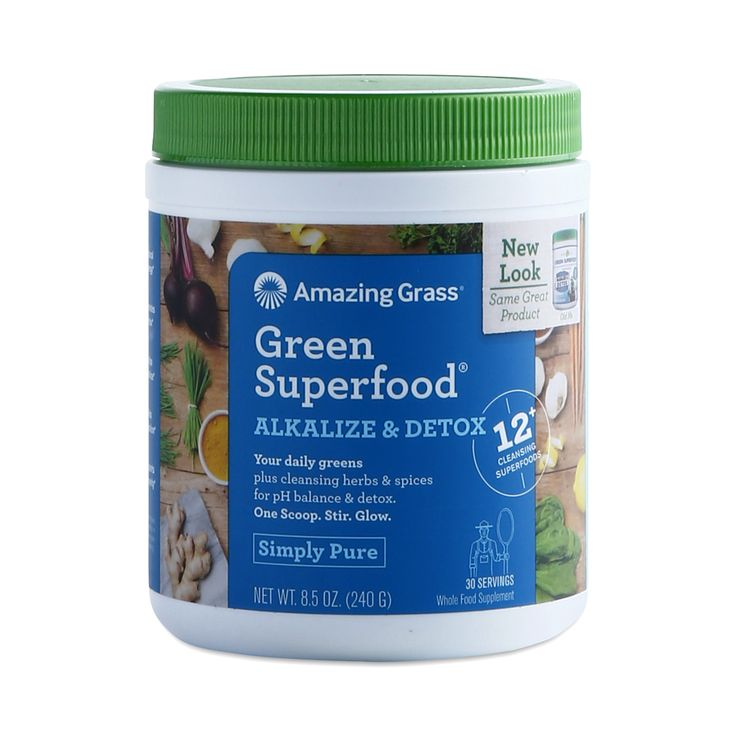 Promote good digestion with Amazing Grass Green Superfood Detox and Alkalize powder, which contains alkalizing greens and probiotics.