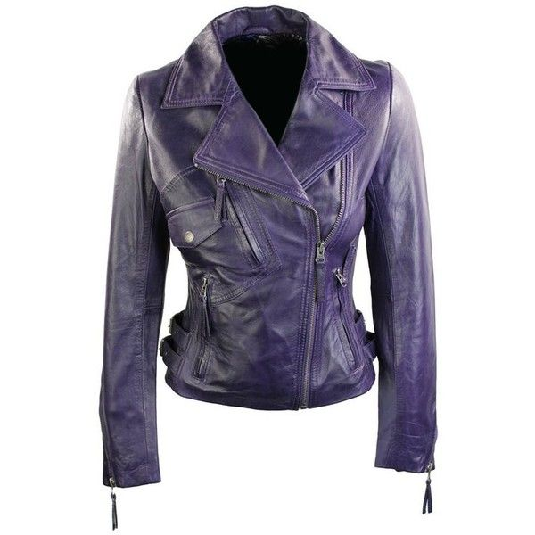 100% Ladies Real Leather Jacket Short Fitted Bikers Style Maroon... ($150) ❤ liked on Polyvore featuring outerwear, jackets, leather jacket, blue biker jacket, vintage jacket, leather biker jacket and purple jacket