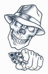 TAT275** Temporary Tattoo - Gangster Tattoo - Stick Up Skull ...