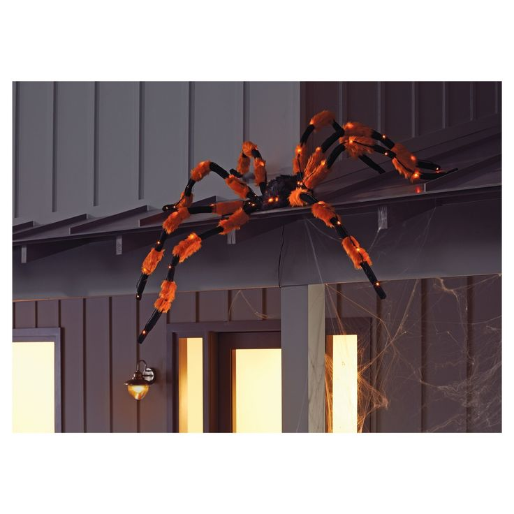 Add an instant Halloween decoration with this easy to set up cascading lights plush spider. Spider has 50 LED lights including red flashing eyes and orange LED lights on legs. Orange lights have 3 functions - cascading, steady on or off. Spider also has shapeable legs. No assembly required and includes convenient hanging string. Use indoors or out.