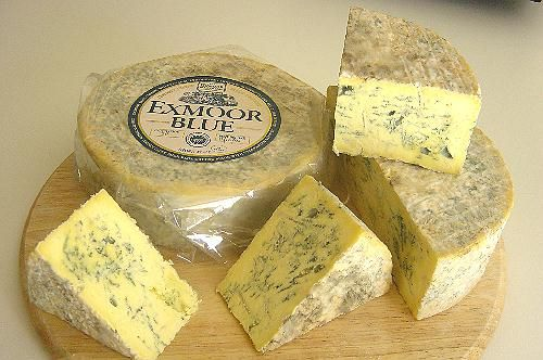 Exmoor Blue - The cheese reveals a natural creamy-yellow coloring indicating the presence of rich Jersey milk and has a natural rind. It is buttery taste is cloaked in the tangy notes of blue cheese. The cheese is sold after a ripening period of 4-6 weeks old, however, for further consumption, refrigeration at 4°C is essential. The company uses only vegetarian rennet to make their cheeses, so all Exmoor Blue company cheeses are suitable for vegetarians.