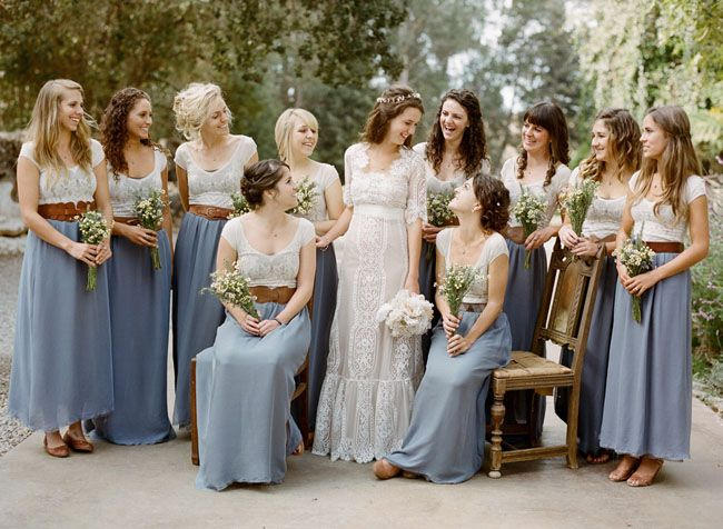 Such a sweet, simple look for bridesmaids...matching skirts and white tops. Love the wide belts, too! Looks great on everyone, and uniform! Cornflower blue is always good, too!