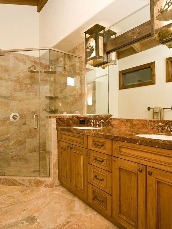 Craftsman Full Bathroom with DecoLav Classically Redefined Oval Undermount Bathroom Sink, Complex granite counters, One-wall