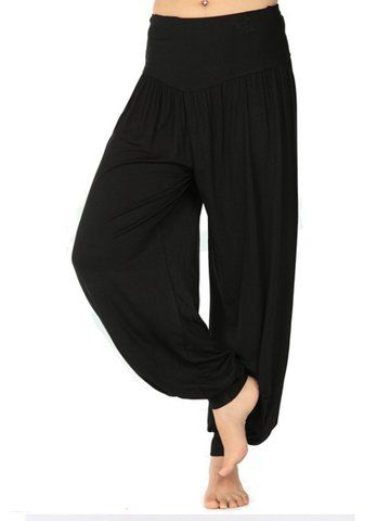 Hot Loose Pure Color Elastic Wide Leg Long Harem Yoga Dance Pants
