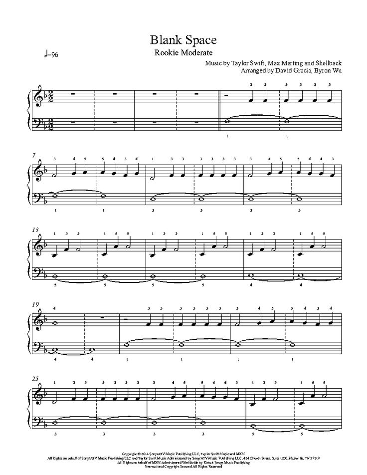 Blank Space by Taylor Swift Piano Sheet Music | Rookie Level