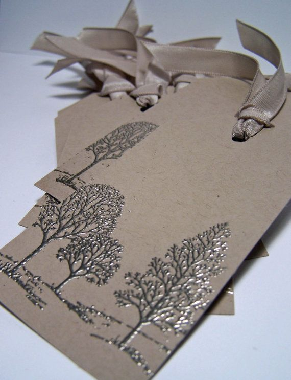 Pewter embossed tree gift tags set of 8 by stampedsilly on Etsy, $4.75