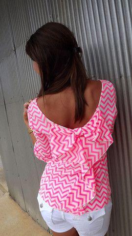 Neon Pink Chevron Bow Blouse