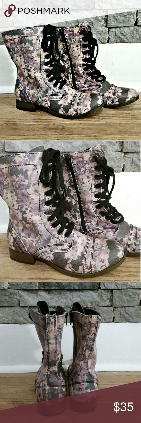 New Candies floral combat boots size 6 1/2 New never worn, Candies floral combat boots, size 6 1/2. Candie's Shoes Combat & Moto Boots
