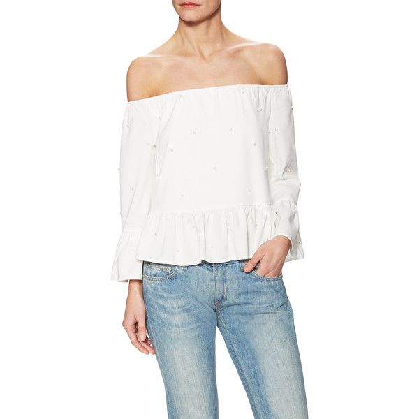 ENGLISH FACTORY Women's Woven Off Shoulders Top - White, Size L ($30) ❤ liked on Polyvore featuring tops, blouses, white, off the shoulder peplum top, white top, white peplum top, white peplum blouse and white off shoulder blouse