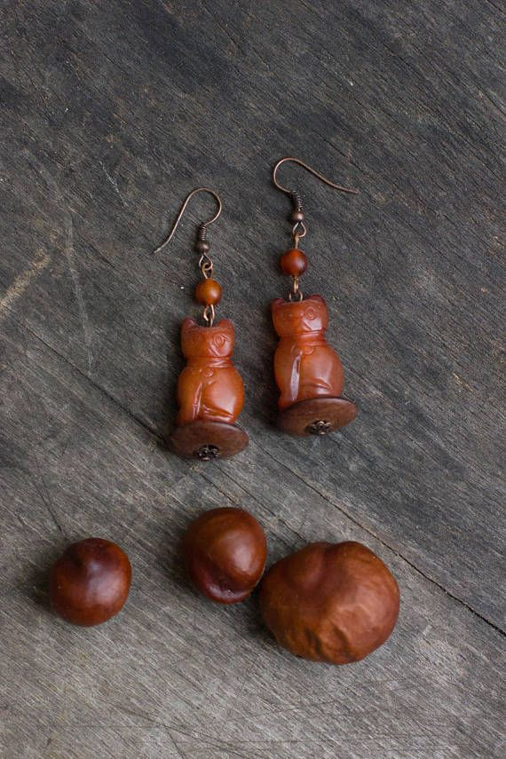Cat Earrings Carved Stone Red Jasper Earrings Extra Long