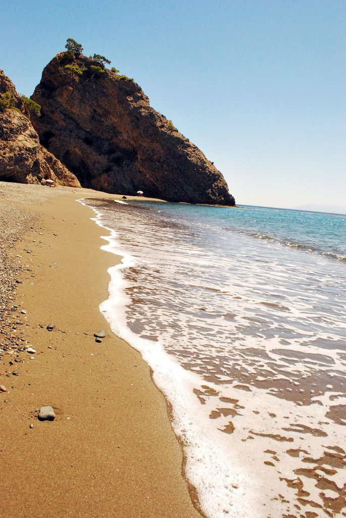 Vatera beach in de southern part of Lesvos Island_ Greece