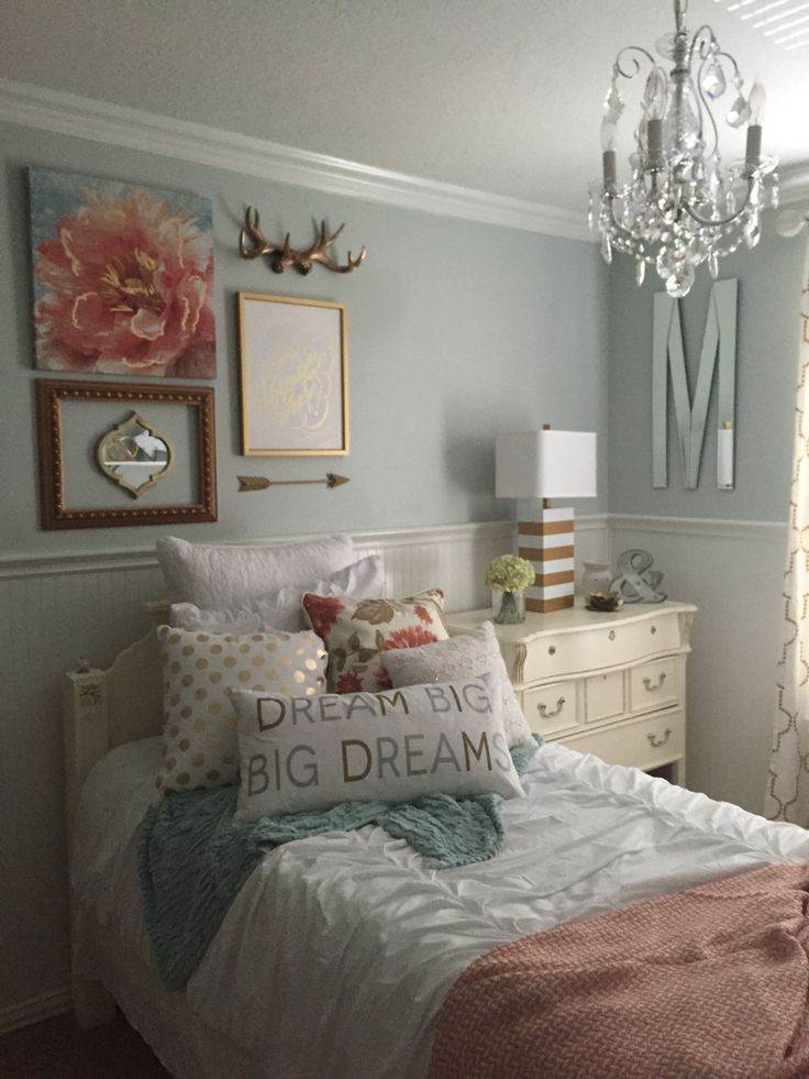 Girls bedroom mint coral blush white metallic