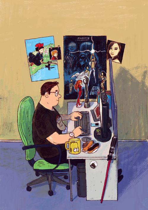Blogger, illustratori, grafici, concept artist, musicisti, ma anche programmatori e semplici nerd incalliti. Scommettiamo che tutti potremo ritrovarci nelle dettagliatissime illustrazioni di Dmitry Narozhny, illustratore tailandese? Qui tutto il progetto sul suo profilo Behance. Ringrazio Roba da Grafici per avermelo fatto scoprire!