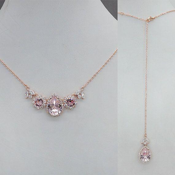 Backdrop Bridal Necklace, Blush Back Drop Necklace, Back Drop Wedding Necklace, Pink Crystal Necklace, rose gold wedding jewelry for brides #Goldjewelrywedding #GoldJewelleryWedding #GoldJewelleryLife