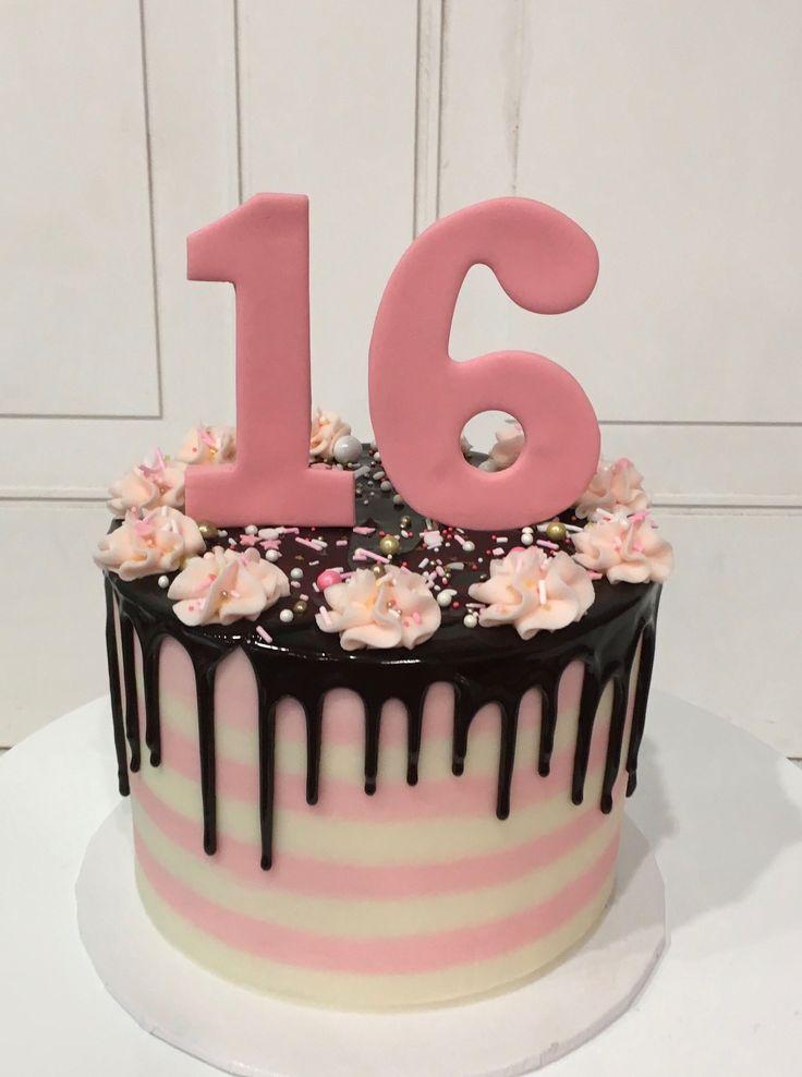 Gâteau au chocolat rose et blanc pour la 16e anniversaire de la ganache au chocolat par 3 …   – Love food