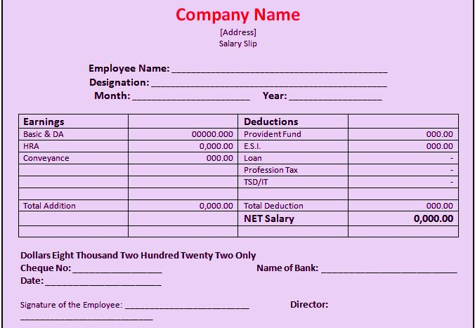 bank salary slip format excel template