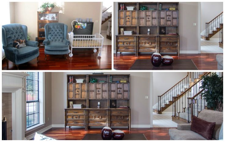 Relocating bookshelves from one from one area of your home to another is simple and effective for staging to sell or dwell. Maximize space and usable square footage Photo by Unique Exposure Photography 2014